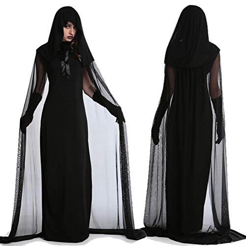 Erwachsene Halloween-Kostüm, schwarze Hexe Vampir Kostüm Outfit Scary Evil Halloween Horror Rock für Halloween Party Cosplay Bühne