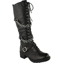 mujer hasta la rodilla media caña Cordones PUNK MOTORISTA BOTAS COMBATE MILITARES Zapatos - Piel Sintética Negro, 39