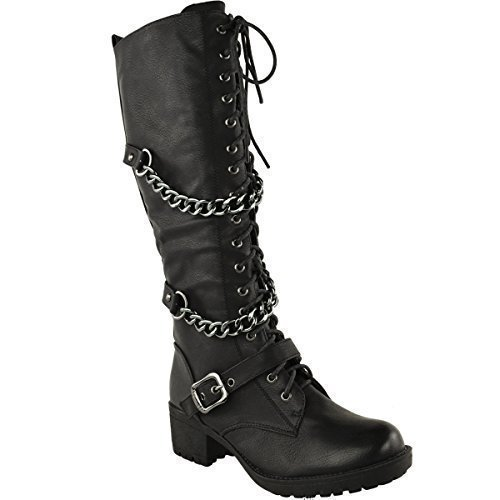 LADIES WOMENS KNEE HIGH MID CALF LACE UP BIKER PUNK MILITARY COMBAT...