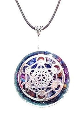 collier Pendentif orgonite en orgone Cube de Métatron, Protection EMF, énergie .Unisex