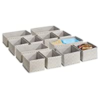 mDesign Fabric Boxes for Cupboard or Drawer - The Ideal Fabric Storage Box - Eight Small and Four Large Boxes - Flexible Drawer Organiser - Taupe/Natural