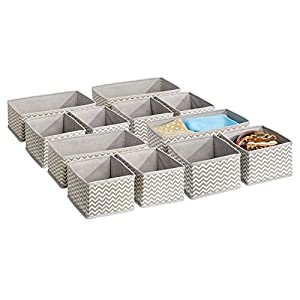 mDesign Stoffbox für Schrank oder Schublade - die ideale Stoff Aufbewahrungsbox - 12er-Pack: Acht kleine und vier große Boxen - flexibel verwendbare Schubladen Organizer - taupe/Natur
