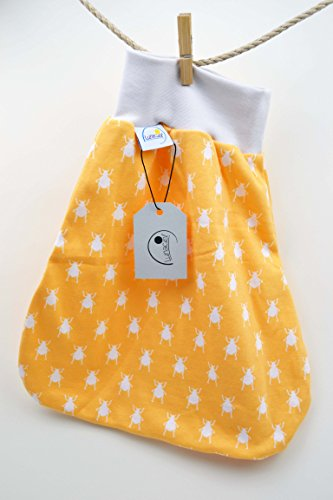 Strampelsack aus Bio-Baumwolle, 50 56 0-3 M, Schlafsack, pucken, Baby, Kind, Wiege, Bett, Kinderwagen, beige creme, orange gelb Käfer, Mädchen, Jungen