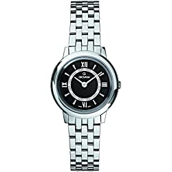 GROVANA 3708.1137 Women's Quartz Swiss Watch with Black Dial Analogue Display and Silver Stainless Steel Bracelet