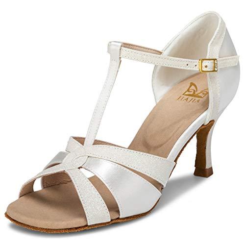 JIA JIA 20519 Damen Sandalen Ausgestelltes Heel Super-Satin mit funkelnden Glitter Latein Tanzschuhe Farbe Elfenbein,Größe 37 EU - Ballett Satin-heels