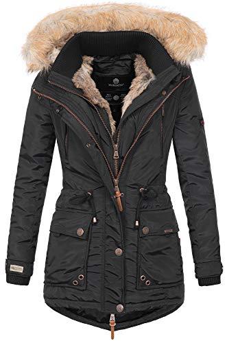 Marikoo Damen Winterjacke Kapuze Kunstfell Winter Jacke warm lang B617 [B617-Grinse-Schwarz-Gr.XL]
