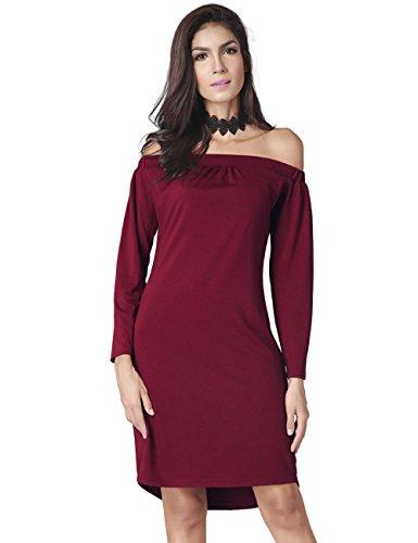 Kragen trägerlos langärmeliges Kleid , wine red , m (Einreiher Kragen Denim)