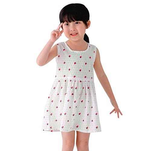 Amlaiworld sommer Ärmellos Erdbeeren drucken kleider baby Gemütlich sport tanktop kleid Mädchen locker Punktdruck kleider niedlich kinder Baumwolle band dress, 1-6 Jahren alt (2 Jahren, - Alt-spielzeug Für 5 Mädchen Jahre
