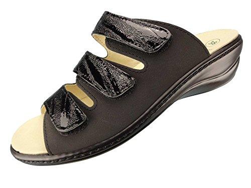 Algemare Damen Pantolette Nubuk Leder Keilpantolette mit Algen-Kork Wechselfußbett Leder Made in Germany 1239_0307, Größe:40