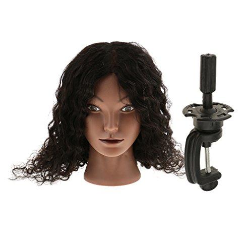 Homyl Têtes d'Exercice en Vrais Cheveux avec Pince de Support Cosmétologie Mannequin Tête Femme Afro à Coiffer à Coiffage Chignon Coiffure Styling