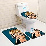 IMON LL Tappetini3Pcs / Set tappetini da Bagno, tappetini da Bagno Antiscivolo con Tappetino da toeletta per Toilette Stampati 3D per la Decorazione Domestica,3,45 * 75cm