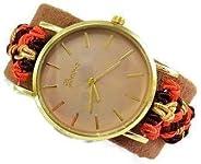 Orologio da polso grande Bracciale rigido regolabile donna marrone Regalo di Natale per lei