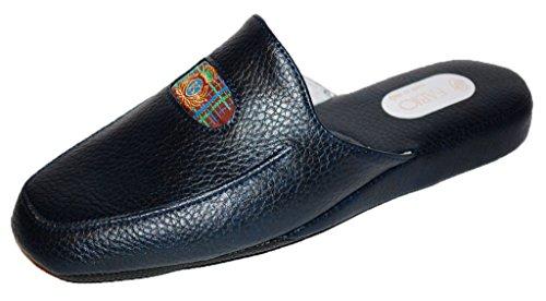 Pantofole Invernali Uomo Ciabatte Casa Blu Camera Pelle Ciabatta Fabio 0550 Blu 41