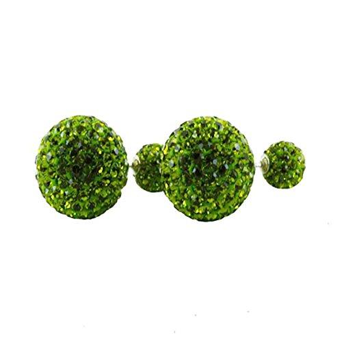 KASKOTE-Orecchini in argento e vetro modello Strass. Misse. disponibilità in 12 colori, diametro 14 mm, diametro sfera pieghevole con chiusura a pressione (, argento, colore: green, cod. DIO6