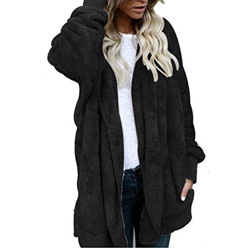Manteau Femme ,LMMVP Femme Cardigan Longue Manteau Chaud Veste à Capuche en Fourrure Vêtements d'hiver Parka (L, noir)