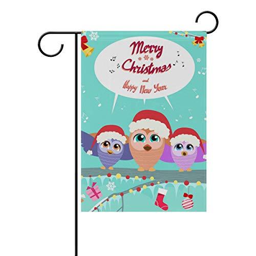 Ahomy Garden Flaggen Weihnachten Eule Musik, Polyester, Multi, 28x40inch