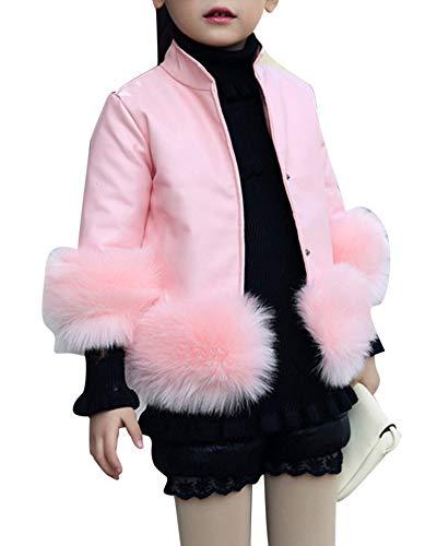 Mädchen Pelzjacke Jacke Kinder Langarm Pu Lederjacke Winterjacke Pelzmantel Pink 130