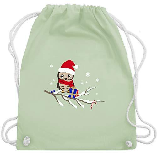 Weihnachten & Silvester - Weihnachtseule Eule - Unisize - Pastell Grün - WM110 - Turnbeutel & Gym Bag