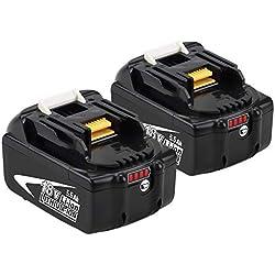 2x Boetpcr BL1860B 5.5Ah Remplacement Batterie pour Makita 18V Lithium BL1860 BL1850B BL1850 BL1840 BL1830 LXT-400 avec indicateur à LED Outil sans fil