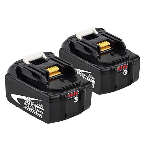 [2 Stück] BL1860B Lithium Ersatz für Makita Akku 18V 5.5Ah BL1860B BL1860 BL1850B BL1850 BL1840 BL1830 BL1820 194205-3 LXT-400 Akku-Elektrowerkzeuge mit LED-Ladeanzeige