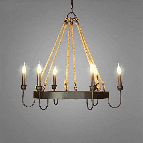 NIUYAO Lampada a Sospensione Metallo Chandelier Industriale Lampadari Illuminazione per Interni 6 luce-Nero