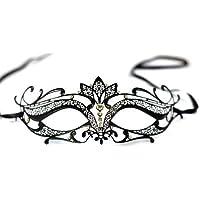 The Rubber Plantation Masque en métal filigrané découpé au laser avec strasses et nœud en satin Style Vérone Noir
