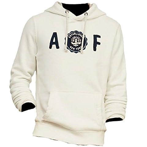 Abercrombie - Homme - Applique Logo Graphic Hoodie Sweat à Capuche Sweatshirt Longue - Taille L - Cream (617533835)