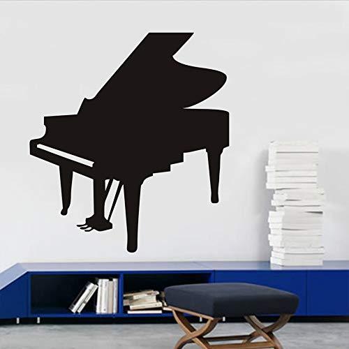 Strumenti musicali Piano muro nero Sticker per le camere da vivere Decorazione Pianoforte Silhouette rimovibile Rivestimenti Vinil Posters Home 64x5cm