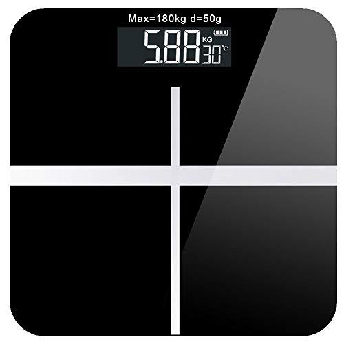 MENGS®Durch USB Kabel Wiederaufladbare - Smart digitale Waage für Körperfett - 4 Hochpräzise Sensoren - hintergrundbeleuchtetes LCD-Großdisplay - Black Digitale Usb-kabel