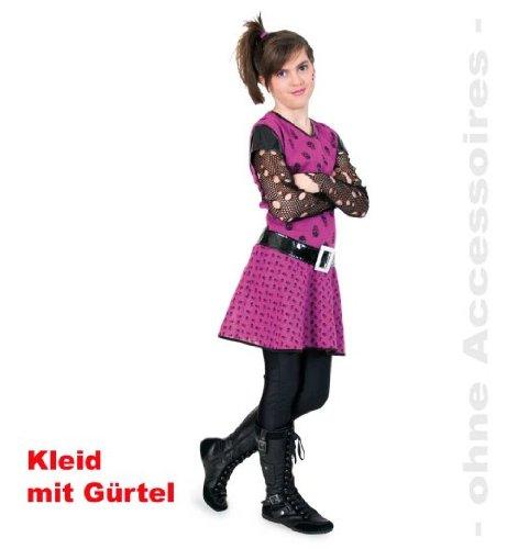 Kleid Punky Girl 152 Mädchen Kostüm Mädchenkleid mit Gürtel (Twilight Kostüme Bella Halloween)