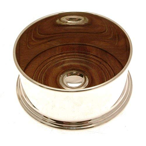 Silver plated bottle coaster with wooden base by Iauctionshop - Silver Plated Bottle Coaster