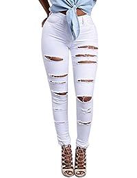 Femme Skinny Denim Jeans Déchirés Troué Slim Pantalons Crayon Pants Stretch Slim Jeans