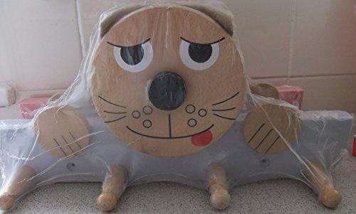 Perchero de madera, diseño de gato