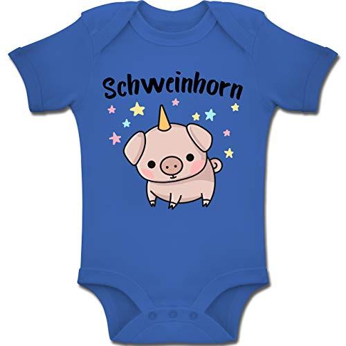 Shirtracer Karneval und Fasching Baby - Schweinhorn - 12-18 Monate - Royalblau - BZ10 - Baby Body Kurzarm Jungen Mädchen (Kostüm Baby Ferkel)