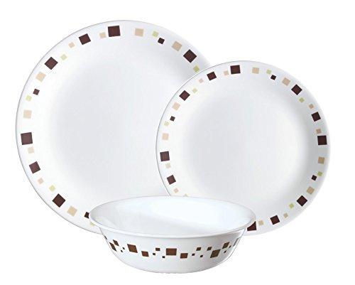 Corelle Geschirr-Set Geometric aus Vitrelle-Glas 12-teilig, Splitter- und bruchfest, braun (Corelle Geschirr Braun)