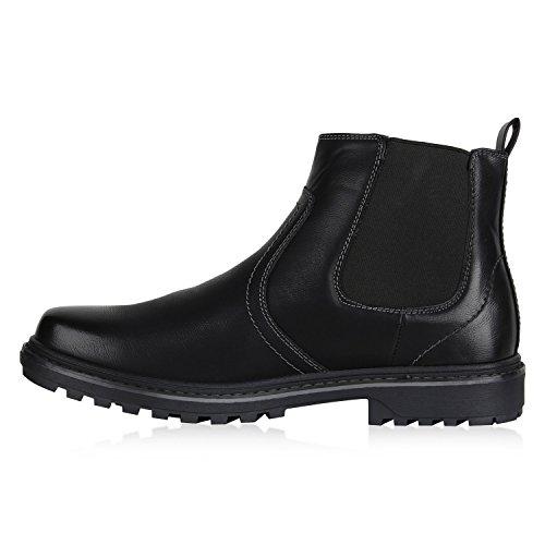 Stiefelparadies Stylische Herren Stiefeletten Chelsea Boots Business Schuhe Leder-Optik Knöchelhohe Stiefel Flandell Schwarz Amares