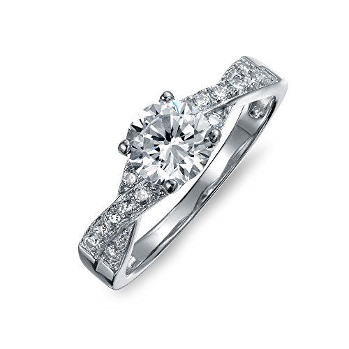Bling Jewelry Sterling Silber 925 2CT Solitaire AAA-Zirkonia ebnen CZ Twist Criss Cross Infinity Verlobungsring für Frauen - Ring Cz 2ct Engagement