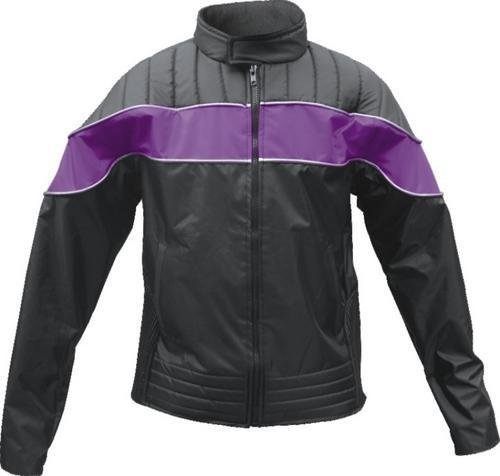 ladies-purple-black-textile-riding-jacket-100-nylon-water-resistant-w-reflector-stripes-by-allstate-