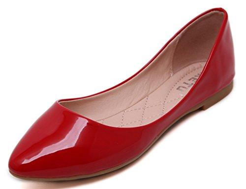 Fortunings JDS Pointu Cône Casual Mode dété Pompes solide de couleur à semelle souple Rouge