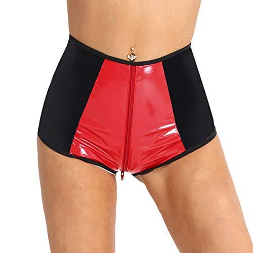 Agoky Damen Hotpants high Waist Kunstleder Shorts Kurze Hose Pants Miederslip Panties Ouvert Slip Dessous Unterwäsche mit Reißverschluss Clubwear Schwarz&Rot M(Taille 58cm) -