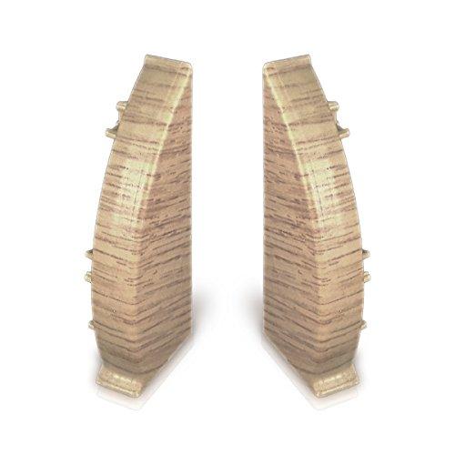 1 Paar Endkappen (1 links, 1 rechts) für Kabelkanal Sockelleiste in Eiche Dekor (Endkappe Eiche)