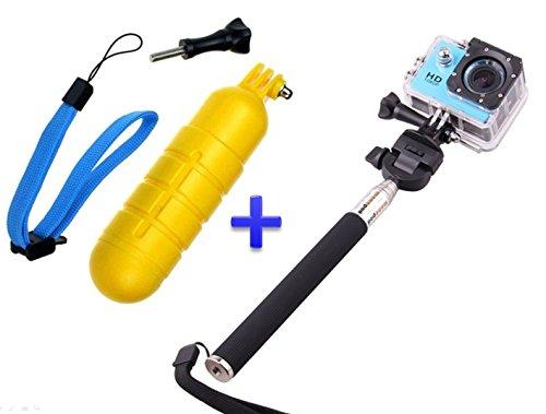 Theoutlettablet® Pack Selfie Palo extensible para cámara deportiva sport cam con Boya sumergible y flotante
