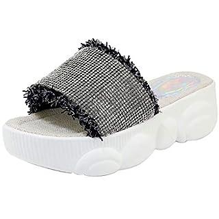 JYshoes Strass Pantoletten mit Plateau Damen High Heels Slipper mit Dicker Sohle Slingback Mules mit Absatz Schwarz 37 EU