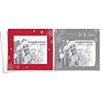 """The Home Fusion Company 6 Pack Of 4 X 6"""" Photo Christmas Cards With Envelopes Silver Or Red"""
