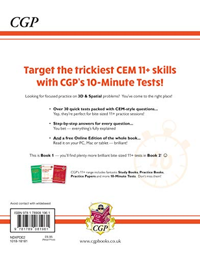 New 11+ CEM 10-Minute Tests: Non-Verbal Reasoning 3D & Spatial - Ages 10-11 Book 1 (with Online Ed)
