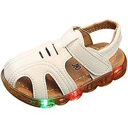 Zapatos de Verano para Bebé Yesmile Zapatilas Causales Antideslizante Suave Suela Sandalias al Aire Libre con LED Chancletas de PU de Playa (22, blanco)