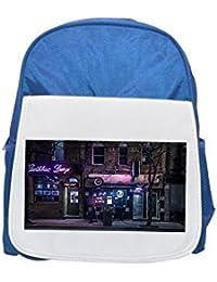 Edificios, noche, urban, neón Sign impreso Kid s azul mochila, para