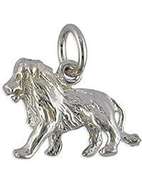 Para niños de plata de ley de signo del zodiaco Leo colgante en un collar de eslabones
