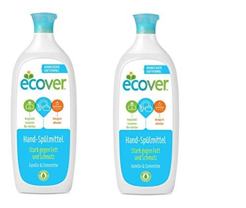 ECOVER Hand-Spülmittel Kamille & Clementine, Ökologische Premiumqualität seit 1979, 2 x 1l -