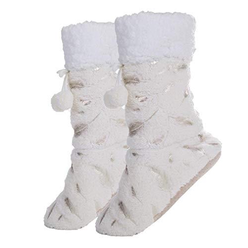 Fralosha Frauen - rutschfeste schuhe weichen plüsch - stiefel, Frau Winter home (Beige)